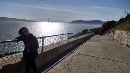 Vista linda no fim de tarde em Alcatraz