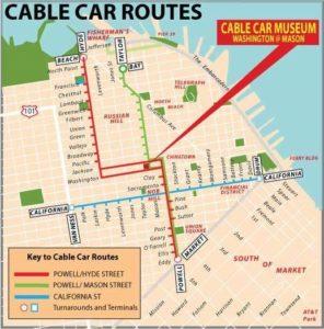 Mapa das rotas do Cable Car.